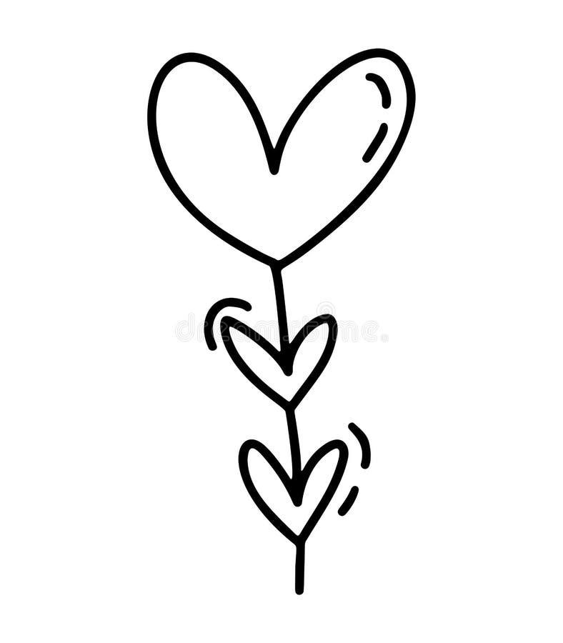 Monoline gullig garaland med hjärtor Dragen symbol för vektorvalentindag hand Ferie skissar klotterdesignbeståndsdelen stock illustrationer