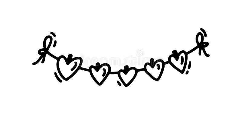 Monoline gullig garaland med hjärtor Dragen symbol för vektorvalentindag hand Ferie skissar klotterdesignbeståndsdelen royaltyfri illustrationer