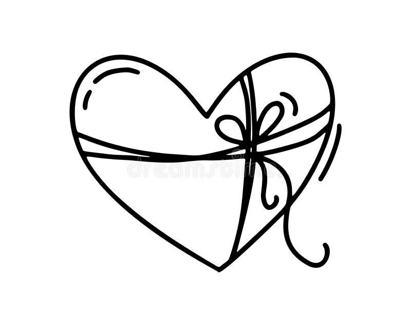 Monoline gullig hjärta med repet och pilbågen Dragen symbol för vektorvalentindag hand Ferie skissar klotterdesignbeståndsdelen stock illustrationer