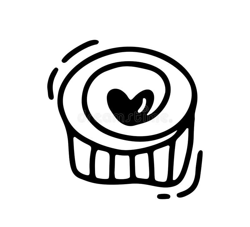 Monoline gullig muffin med hjärta Dragen symbol för vektorvalentindag hand Ferie skissar valentin för klotterdesignbeståndsdelen stock illustrationer