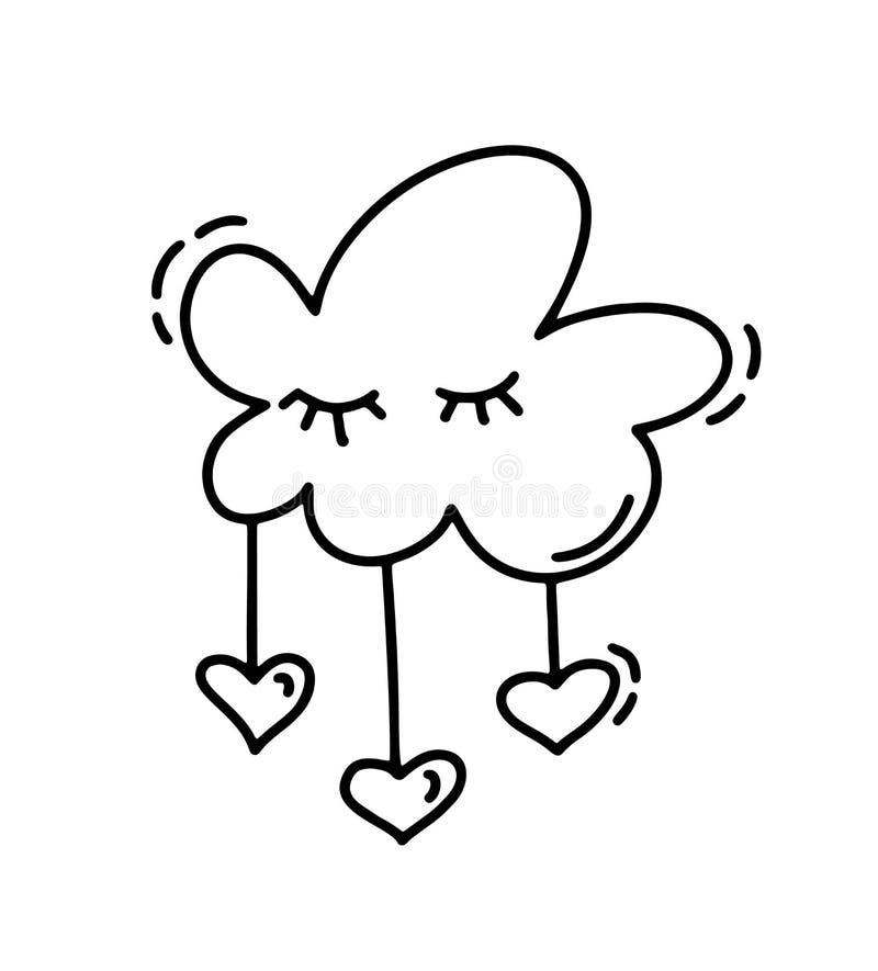 Monoline gulligt moln med hjärtor Dragen symbol för vektorvalentindag hand Ferie skissar valentin för klotterdesignbeståndsdelen stock illustrationer