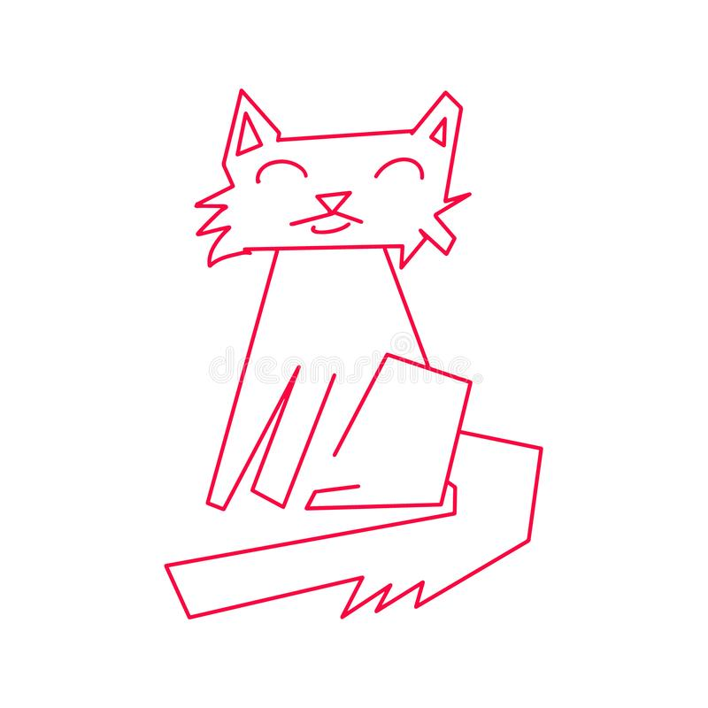 Monoline kota czerwony abstrakt Ręka rysująca zwierzęca figlarka z uśmiechniętą twarzą Szcz??liwa zwierz? domowe ikona Sztuk lini ilustracji