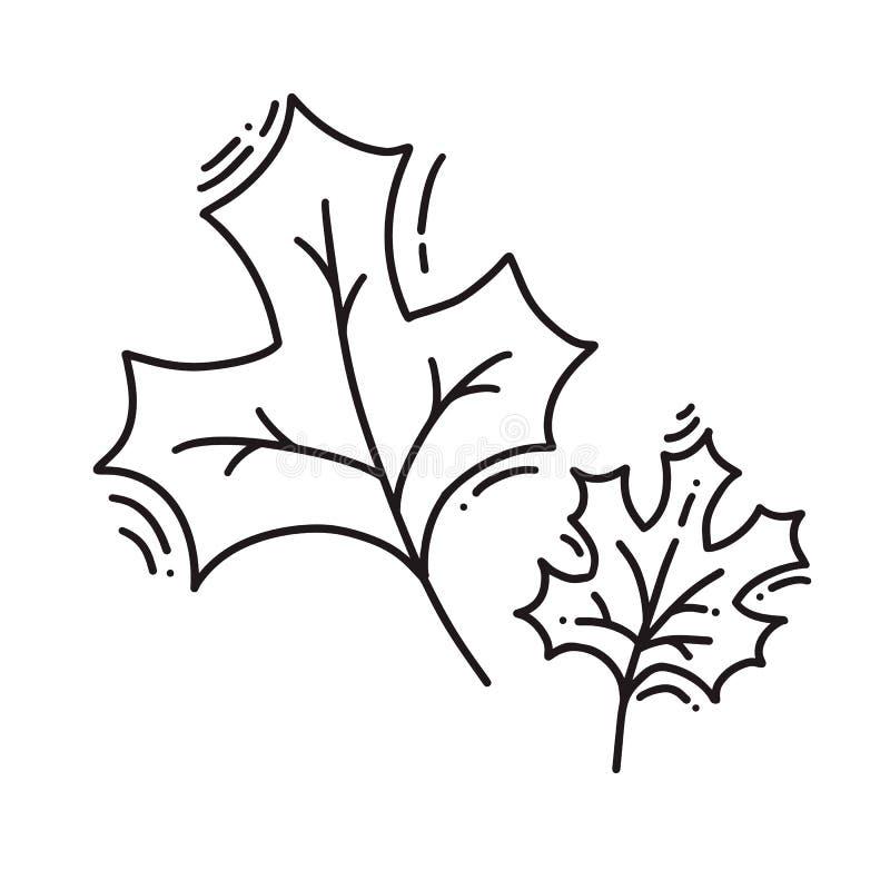 Monoline se va de otoño del logotipo del árbol Emblema del esquema en estilo linear Icono del extracto del vector para el diseño  ilustración del vector