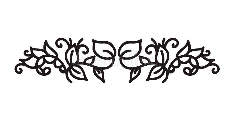 Monoline zawijasa monograma scandinavian wektor z liśćmi i kwiatami Kąty i divider dla walentynka dnia poślubia, ilustracja wektor