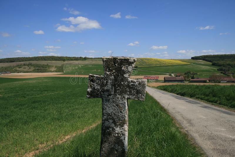 St. Geneviève cross in Bionval, Normandy stock images