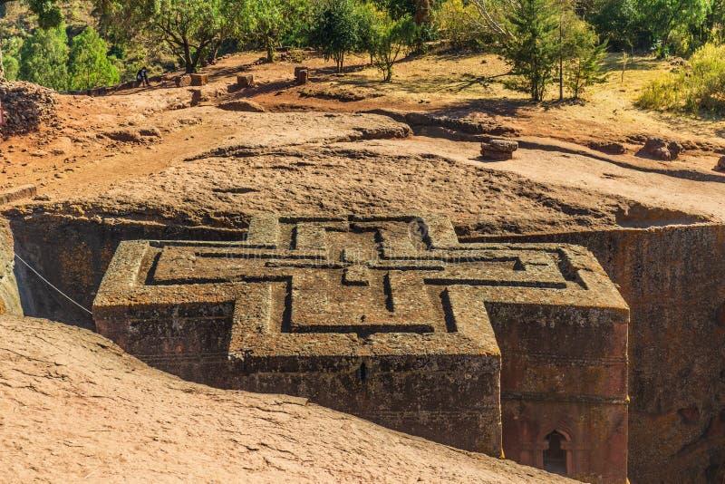 Monolithic church of Saint George Bet Giyorgis in Amharic stock image