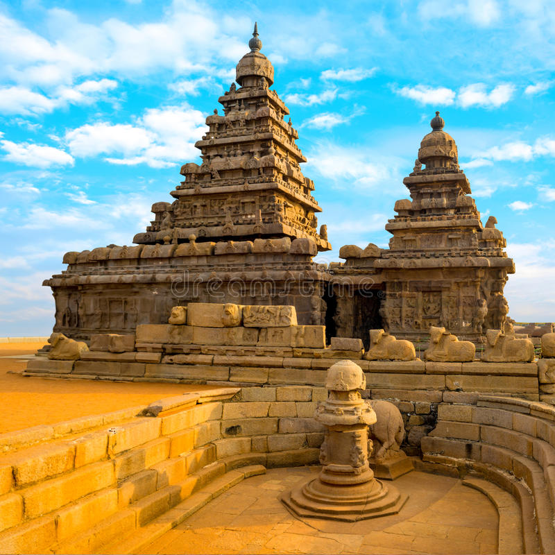 monolithic famous Shore Temple near Mahabalipuram, world heritage site in Tamil Nadu, India, close up royalty free stock photography
