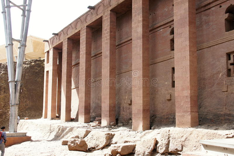 Monolithic rock-cut church in Lalibela. Ethiopia royalty free stock images