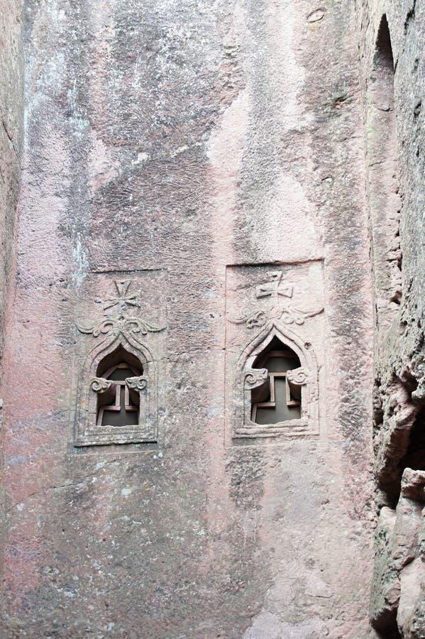 Monolithic rock-cut church in Lalibela. Ethiopia stock photography
