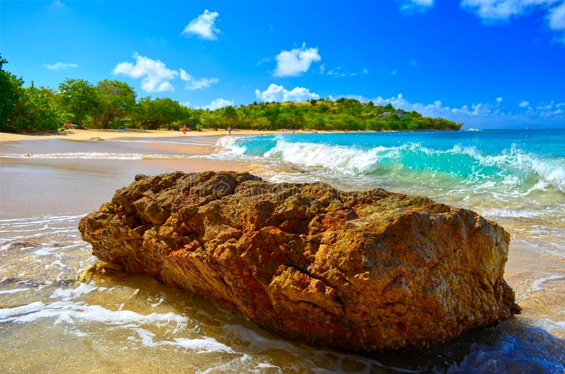 Monolithic Rock at Falmouth Harbour Beach, Antigua, West Indies royalty free stock photos