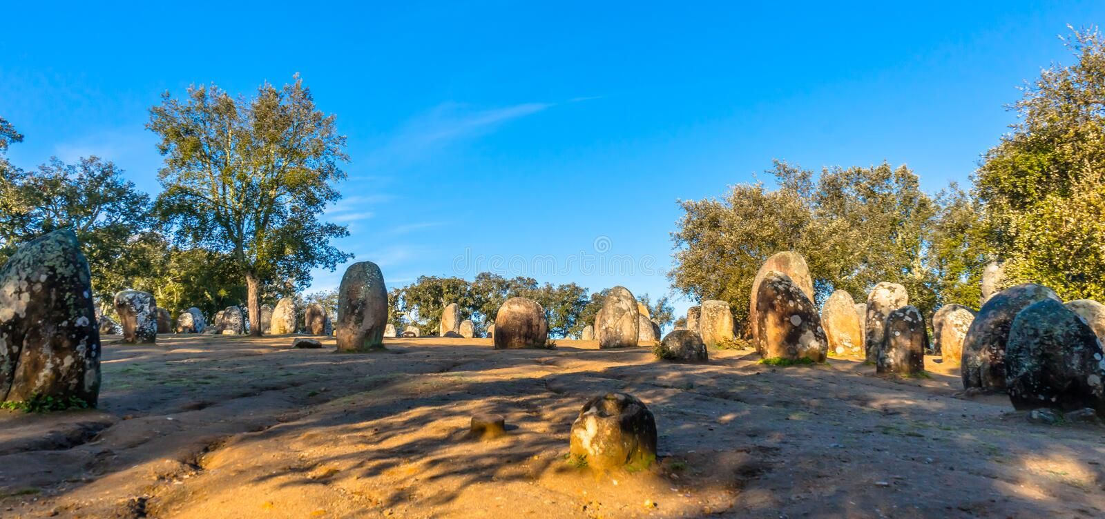 Monolithic stone formations in Almendres Portugal stock photo