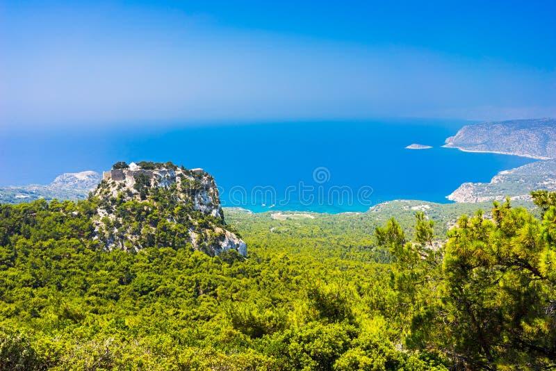 Monolithos城堡罗得岛 图库摄影