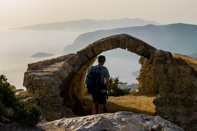 Monolithos ` Castel,日落 图库摄影