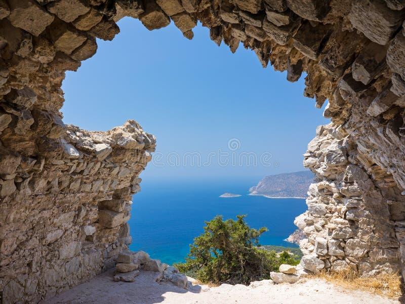 Monolithos-Schloss-Ruinen stockbild