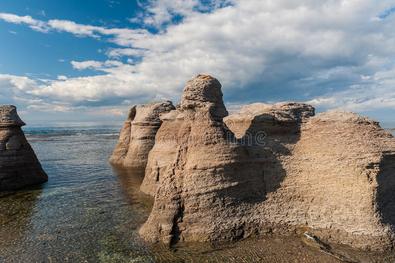 Monoliths close view in Mingan. Archipelago National Park Reserve of Canada,Quebec, Canada royalty free stock photo