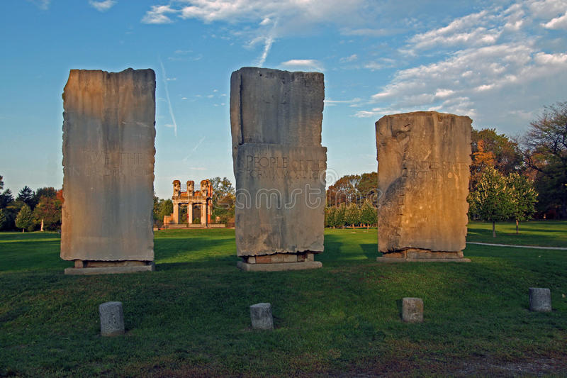 Monoliths at the ruins. Three monoliths at 'the ruins' at Holliday Park in Indianapolis, Indiana royalty free stock photography