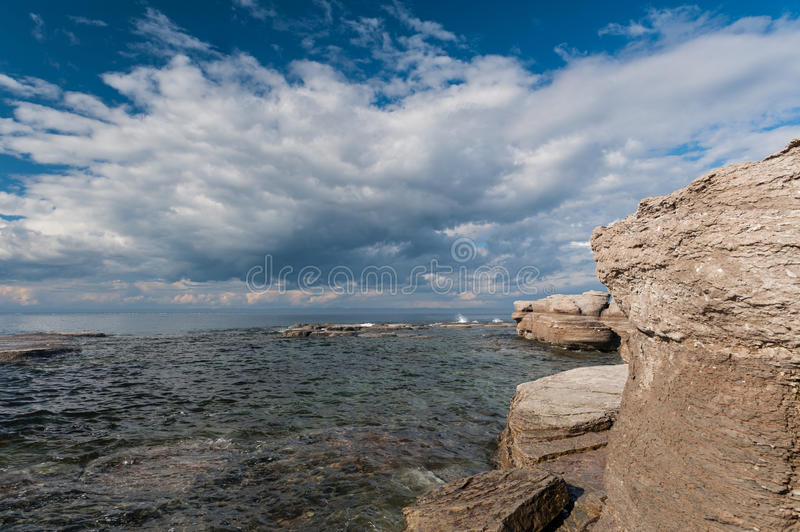 Monoliths and seascape in Mingan Archipelago. National Park Reserve of Canada,Quebec, Canada stock photography
