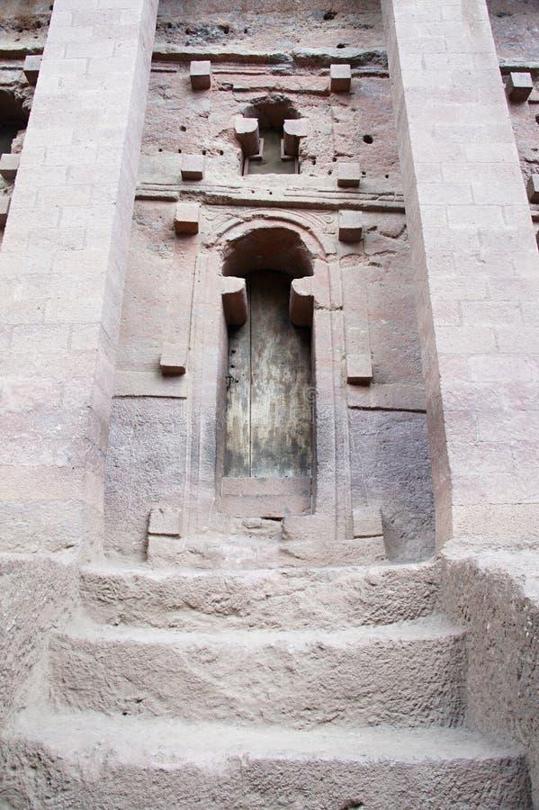 Monolitisk vagga-snitt kyrka i Lalibela royaltyfri bild
