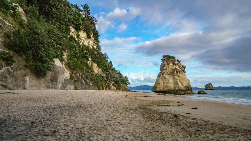 Monolito poderoso de la roca de la piedra arenisca en la playa de la ensenada de la catedral, coromandel, Nueva Zelanda 6 foto de archivo