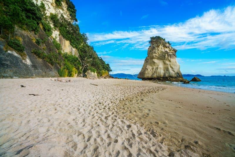Monolito poderoso de la roca de la piedra arenisca en la playa de la ensenada de la catedral, coromandel, Nueva Zelanda 11 foto de archivo