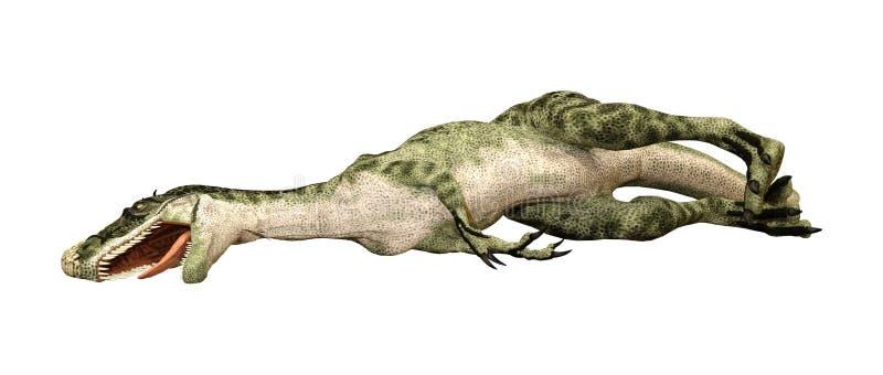 Monolophosaurus del dinosaurio de la representación 3D en blanco ilustración del vector