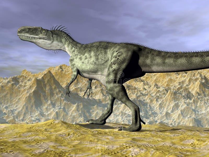 Monolophosaurus dinosaur w pustyni - 3D odpłacają się royalty ilustracja