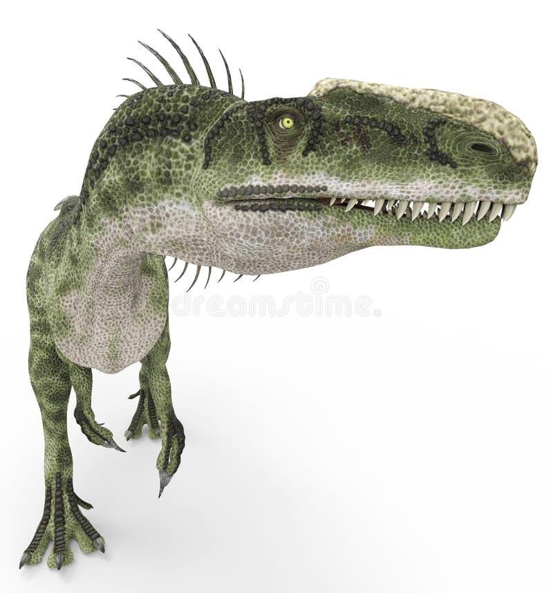 Monolophosaurus jest chodzącym arround ilustracja wektor