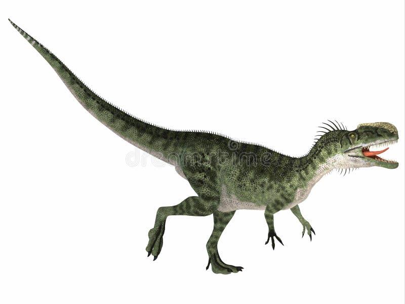 Monolophosaurus nad bielem royalty ilustracja