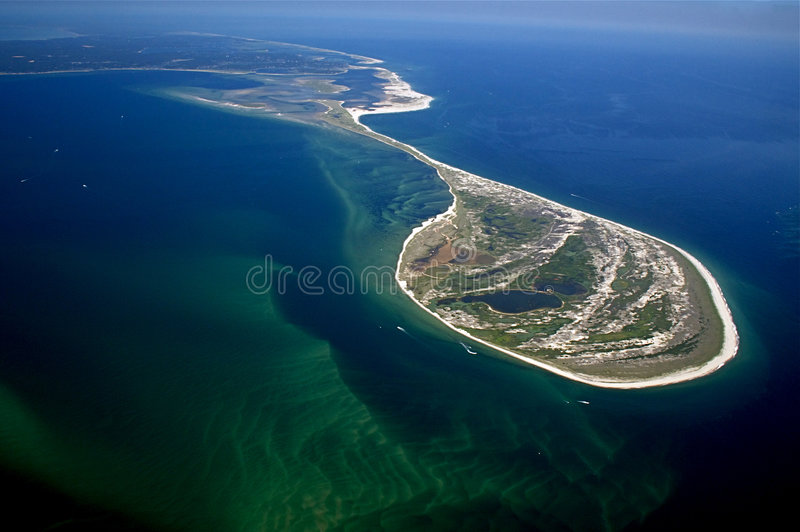 Monomoy Island, Cape Cod Aerial. The National Wildlife Refuge at Chatham, Massachusetts is home to many endangered bird species and an important migration royalty free stock images