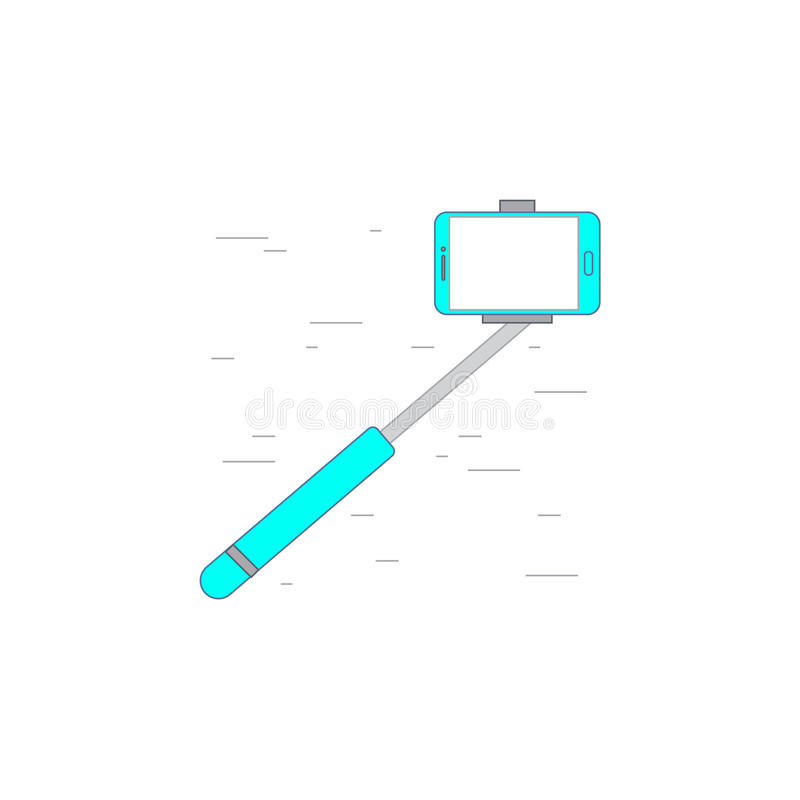 Monopad selfie stick icon or illustration in outline style royalty free illustration