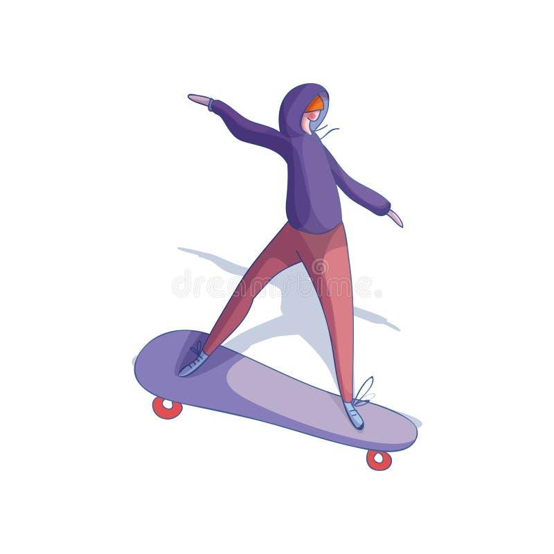 Monopatín de moda joven del montar a caballo de la muchacha Hembra en sudadera con capucha púrpura y pantalones rojos Forma de vi libre illustration