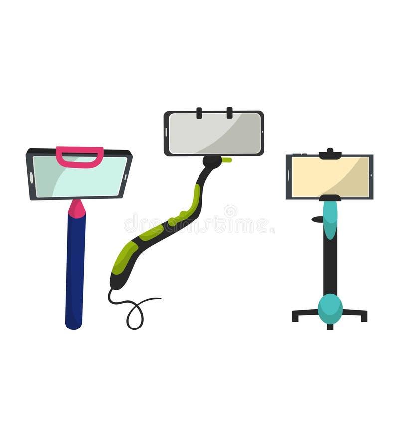 Monopiede di vettore del bastone di Selfie con lo smartphone che fa l'illustrazione dell'autoritratto di fotografia messa del tel illustrazione di stock