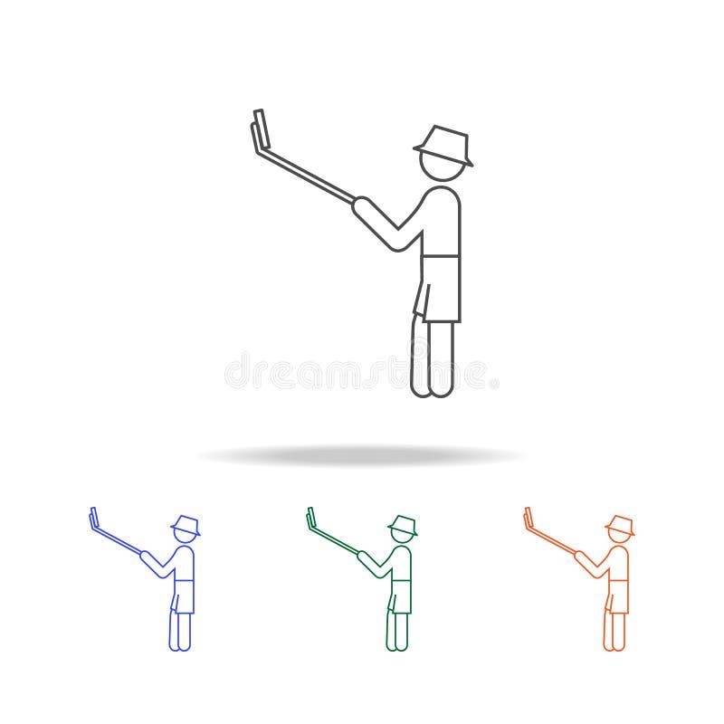 Monopod Selfie自画象线象 旅途的元素在多色的象的 优质质量图形设计象 简单的集成电路 皇族释放例证