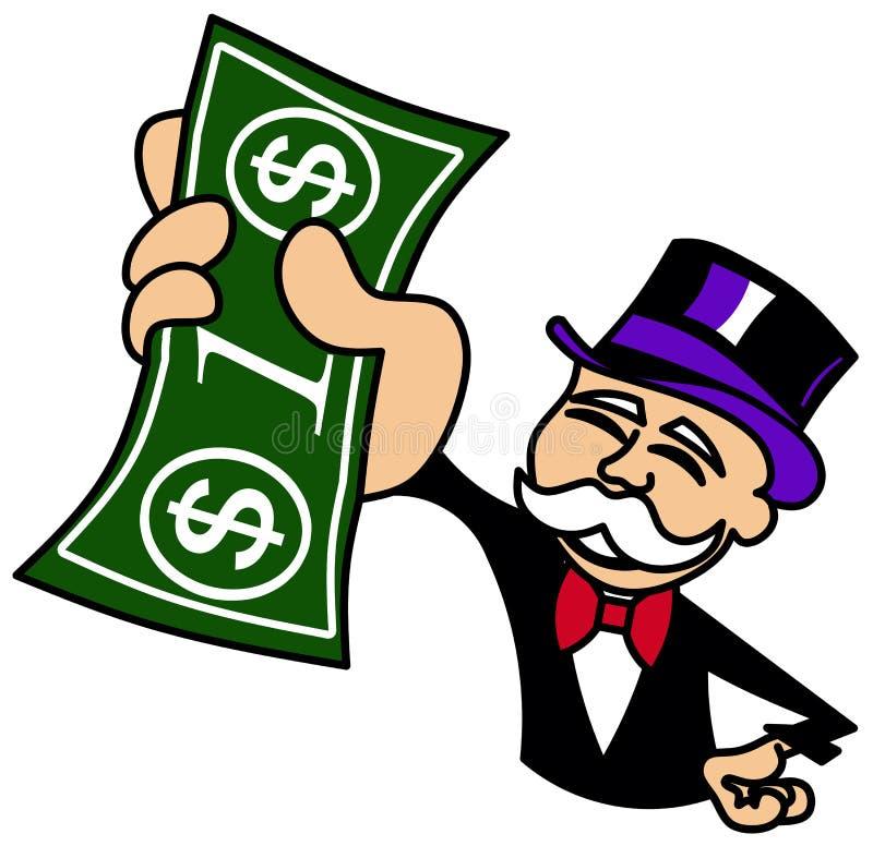Monopoliekerel die één dollarrekening houden vector illustratie