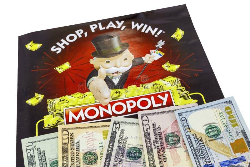 Monopollotteriebargeld lokalisiert stockbild