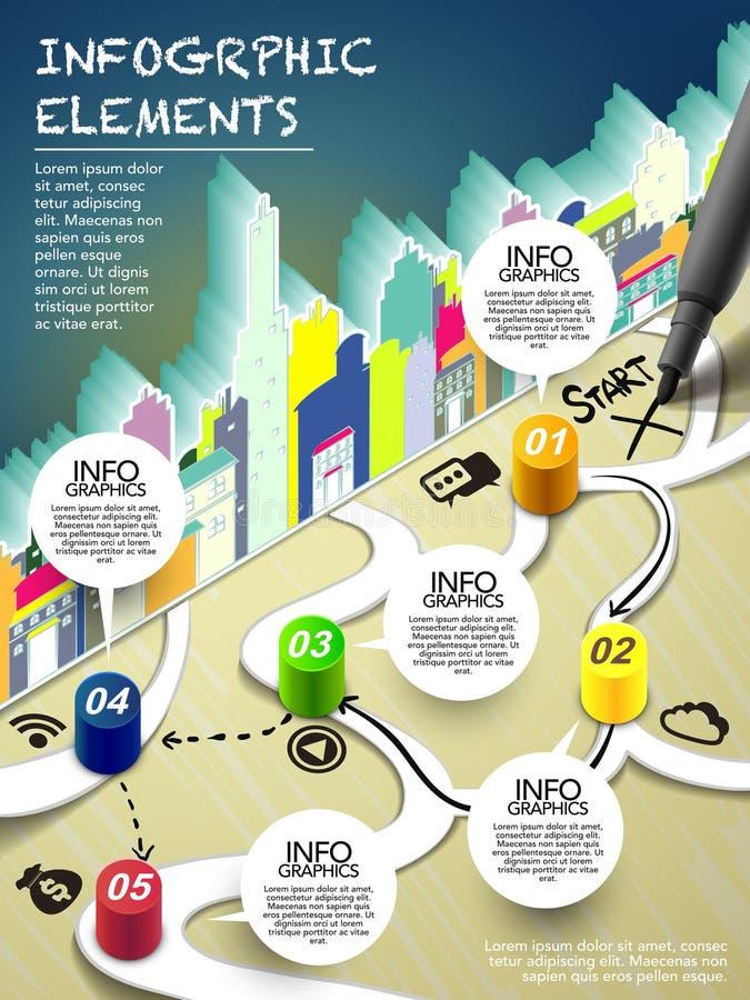Monopolstil som är infographic med pennhandstilstart på översikt royaltyfri illustrationer