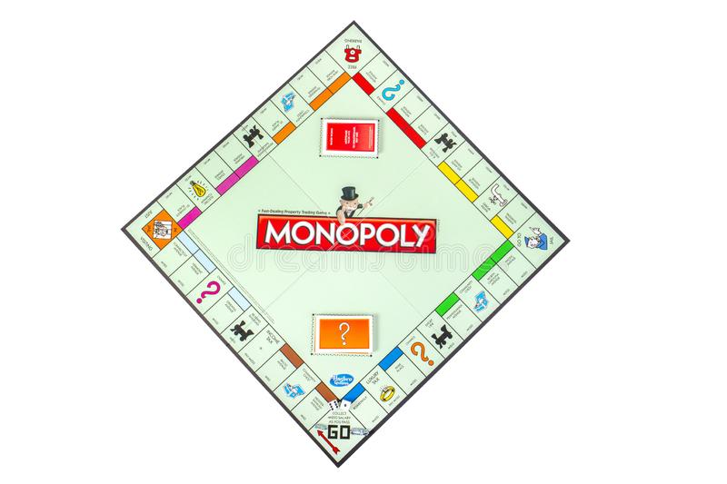 Monopoly Board Game Isolated On White. Monopoly board game by Parker Brothers, isolated on white. The game began selling on February 6, 1935 royalty free stock images