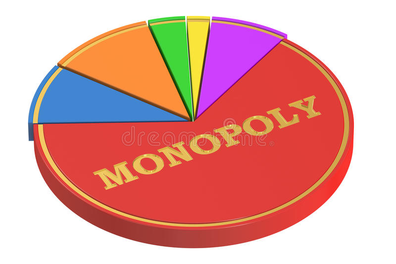 Monopoly concept with Pie Chart, 3D rendering. On white background vector illustration