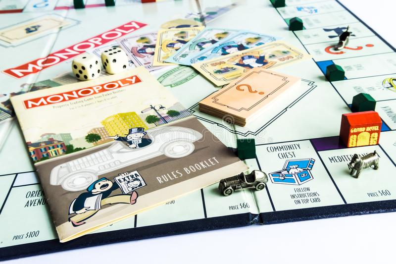 Monopoly Board Game - Come with Game Instruction. Monopoly Property Trading board game from Parker Brothers. The classic real estate trading game from Parker stock image