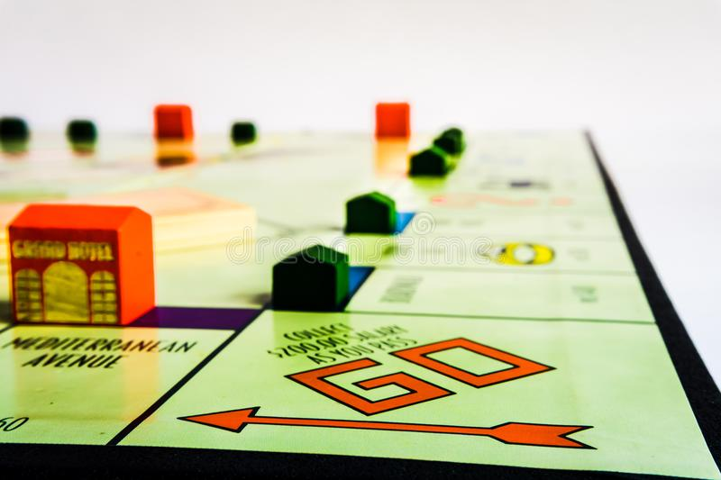 Monopoly Board Game - Tokens yet to come. Monopoly Property Trading board game from Parker Brothers. The classic real estate trading game from Parker Brothers stock photography