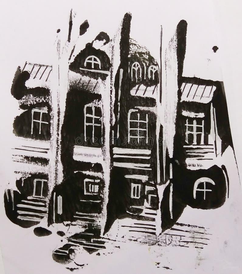 Monoprint de la manguera Ejemplo blanco y negro pintado a mano foto de archivo libre de regalías