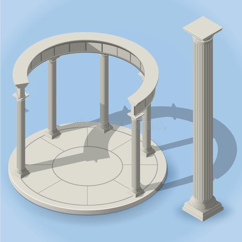Monopteros antigos isométricos da rotunda ilustração stock