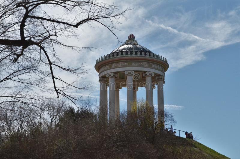 Monopteros in English gardens in Munich in Germany royalty free stock photos
