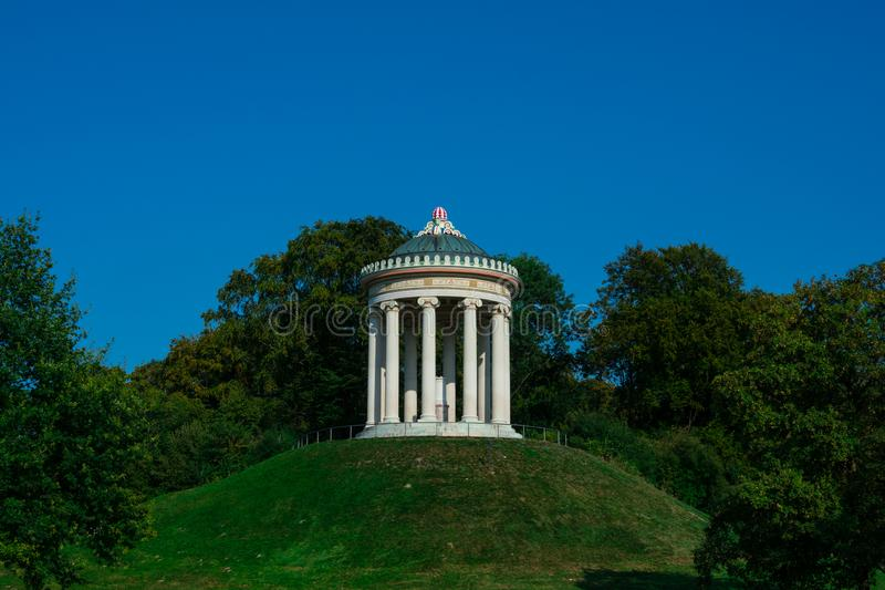 Monopteros, a Greek style temple. English Garden stock images