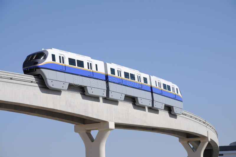 Monorail in Dubai. Monorail at the Palm Jumeirah, Dubai United Arab Emirates royalty free stock photography