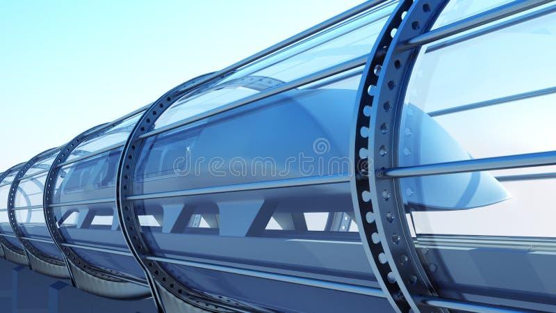 Monorail futuristic train in tunnel. 3d rendering stock illustration
