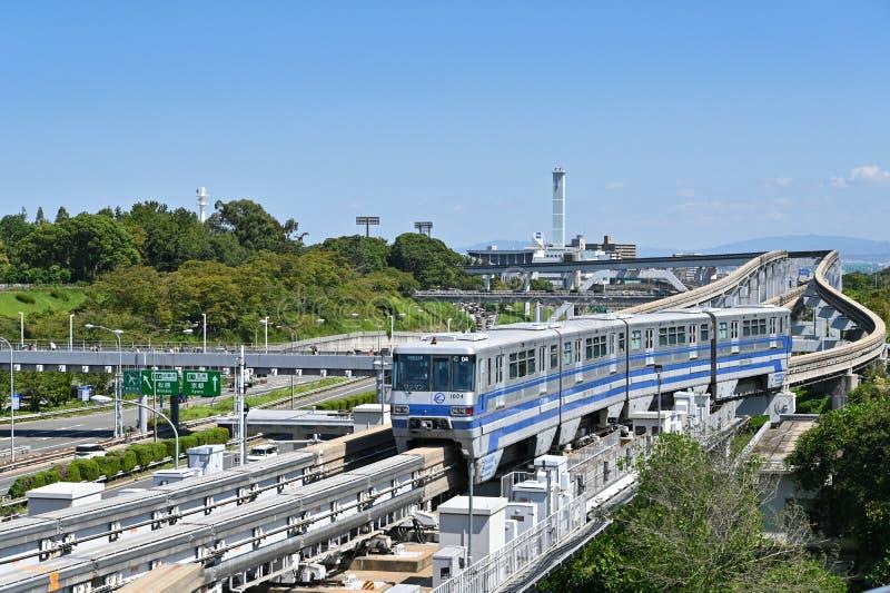 Monorail, Osaka, Japan royaltyfria foton