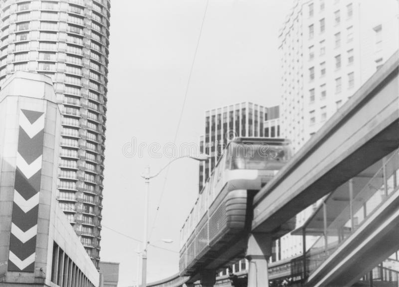 Monorail in Seattle in 1982, Washington state, USA. Photo scanned from old paper photography stock photo