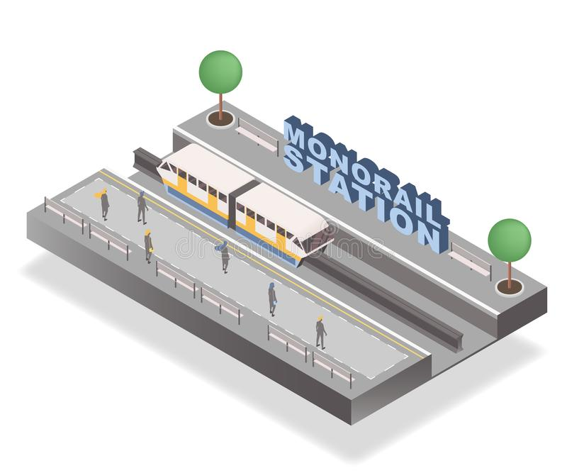 Monorail station isometric banner vector template. Passengers waiting on platform, tram and trees 3D illustration with vector illustration