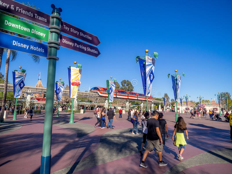 Monorail train passing over the plaza between Disney Land and Disney California Adventure stock photo